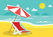 Seaside view with an umbrella and beach chair. Summer vacation concept background. Vector.