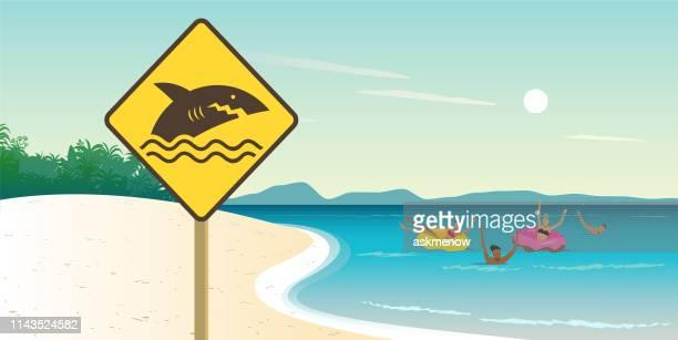 illustrations, cliparts, dessins animés et icônes de avertissement de bord de mer des requins - bouée gonflable