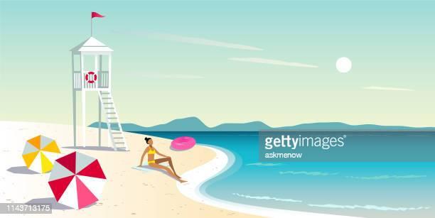 illustrations, cliparts, dessins animés et icônes de week-end en bord de mer - vacances à la mer
