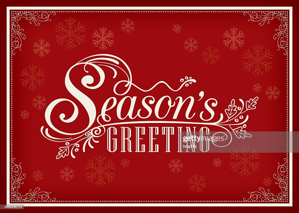 Season greeting word vintage frame design