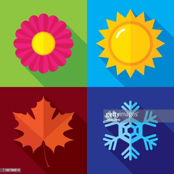 season icons flat - season stock illustrations