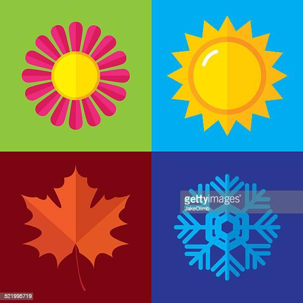 ilustraciones, imágenes clip art, dibujos animados e iconos de stock de temporada iconos plana - las cuatro estaciones
