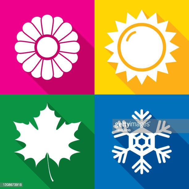 season icons silhouette - season stock illustrations