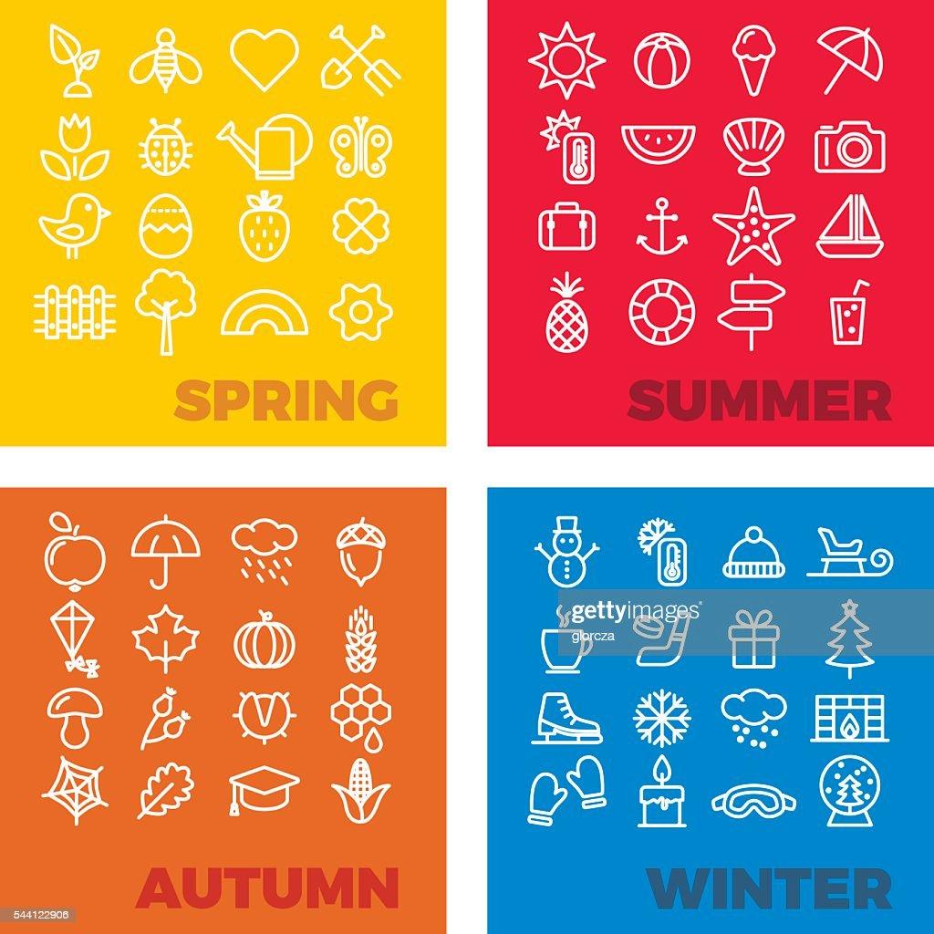 season icons - spring, summer, autumn, winter