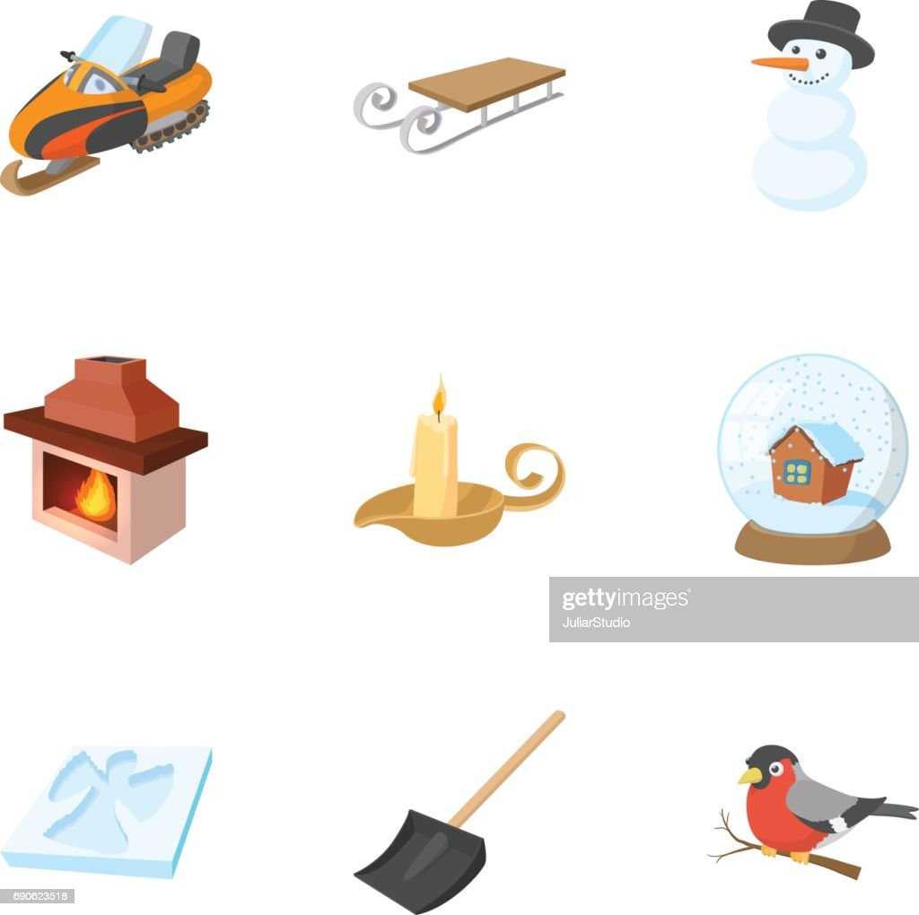 Season winter icons set, cartoon style