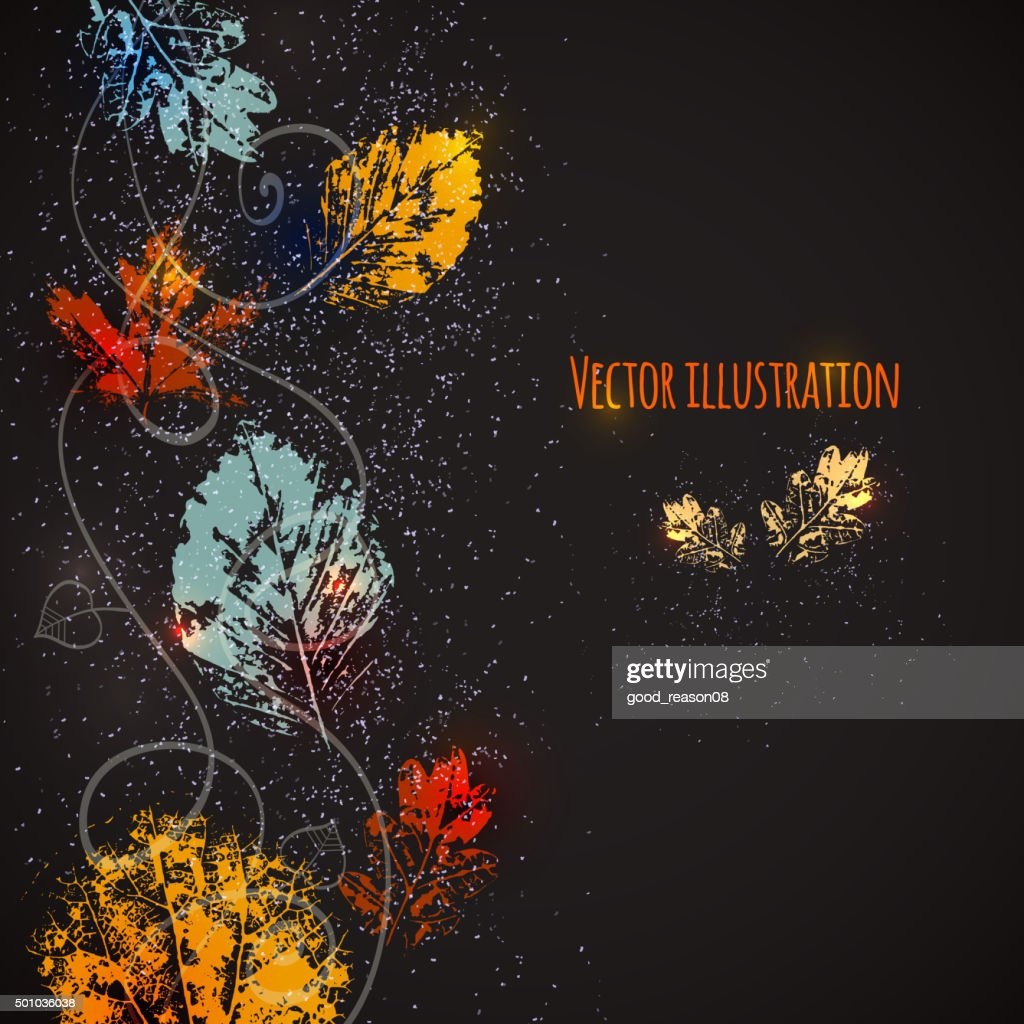 Seasonal background with autumn leaves.