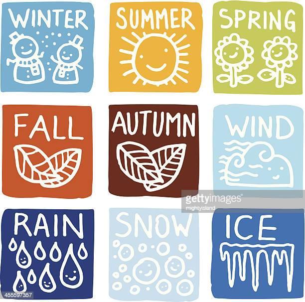 ilustraciones, imágenes clip art, dibujos animados e iconos de stock de icono de bloque de de temporada - las cuatro estaciones