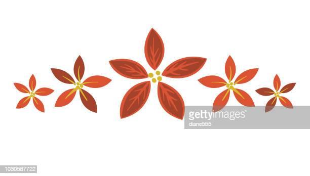 ilustraciones, imágenes clip art, dibujos animados e iconos de stock de elemento de temporada navidad con árboles de hoja perenne y holly - flor de pascua