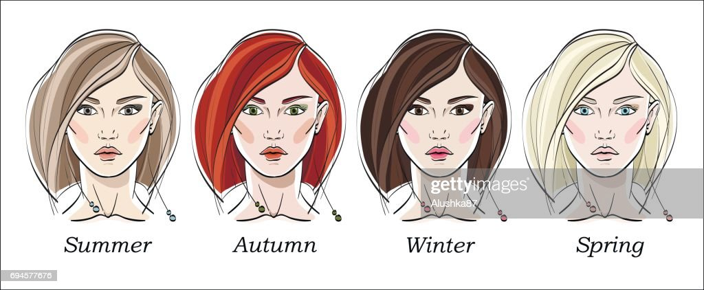 Seasonal color types for women skin beauty set: Summer, Autumn, Winter, Spring. Young female faces, make up shades matching each type.