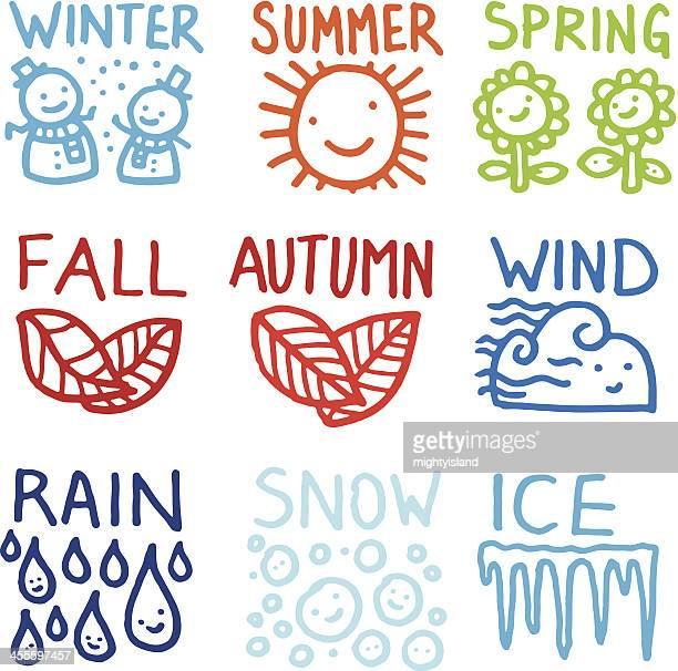 ilustraciones, imágenes clip art, dibujos animados e iconos de stock de doodle conjunto de iconos de temporada - las cuatro estaciones