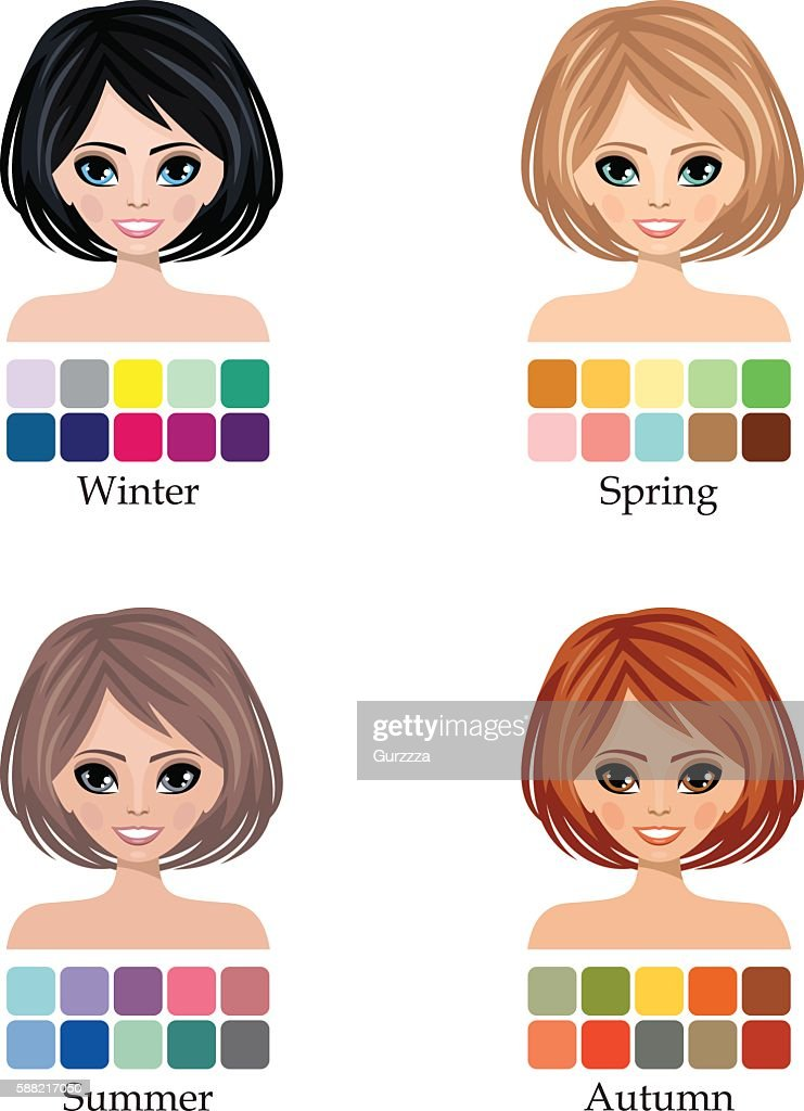 Seasonal four color type of woman face