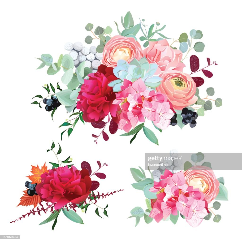 Seasonal mixed bouquets vector design set
