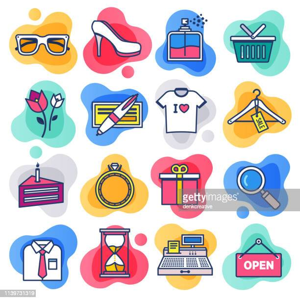 seasonal products gift cards flat line liquid style vector icon set - fashion stock illustrations