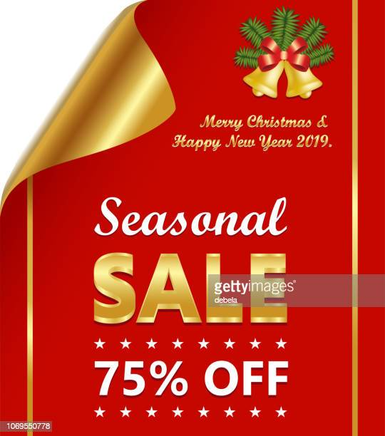 seasonal sale luxury golden and red curled paper - number 75 stock illustrations, clip art, cartoons, & icons