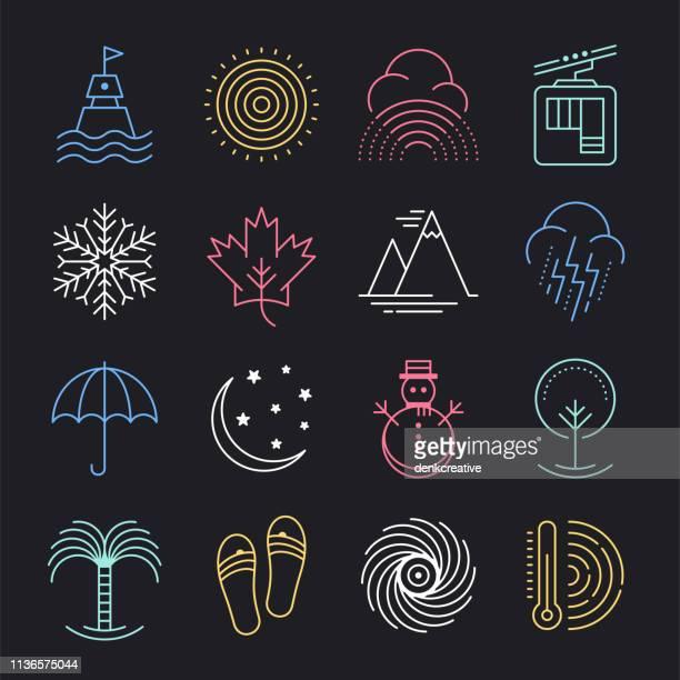 季節の気象条件ネオンスタイルベクトルアイコンセット