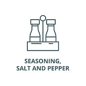 Seasoning,salt and pepper vector line icon, linear concept, outline sign, symbol