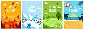 Seasons backgrounds. Autumn, Spring, Summer, Winter. Flat banners design template. A4. Vector