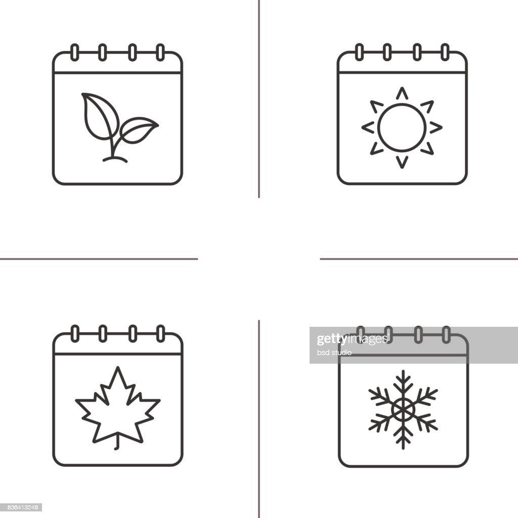 Seasons calendars icons