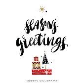 Season's greetings. Christmas calligraphy.