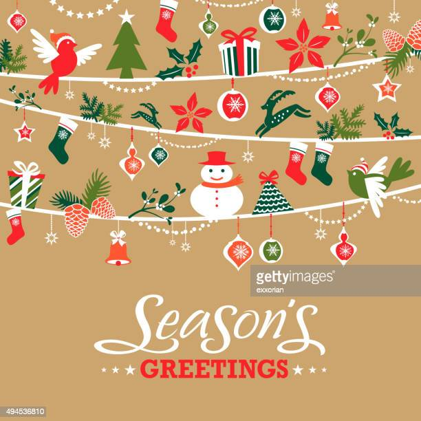 season's greetings graphic elements - christmas decoration stock illustrations