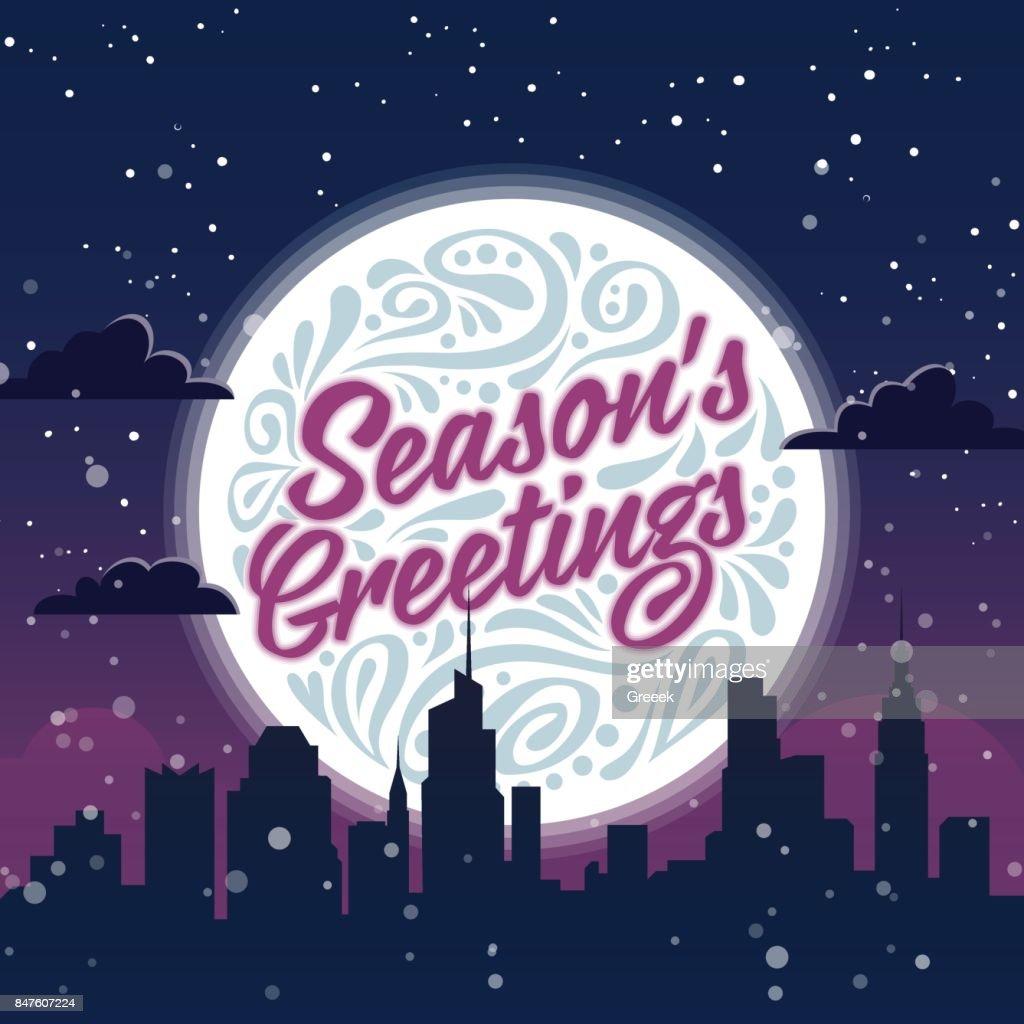 Seasons Greetings Holiday Greeting Card Vector Art Getty Images
