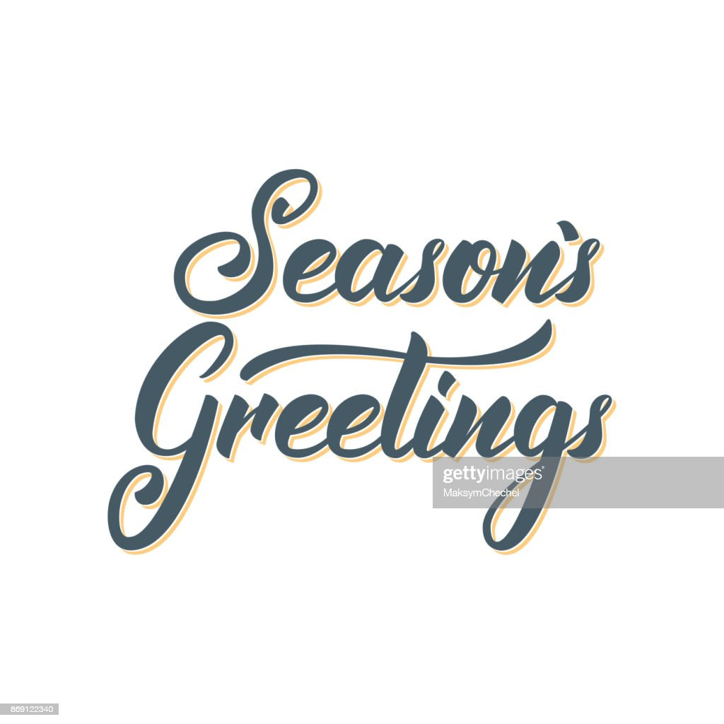 Seasons Greetings Text Lettering Design Christmas And New Year