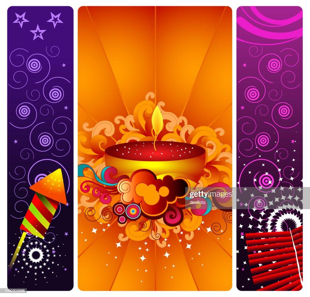 Seasons Greetings Vector Illustration Consisting Of Three Vertical