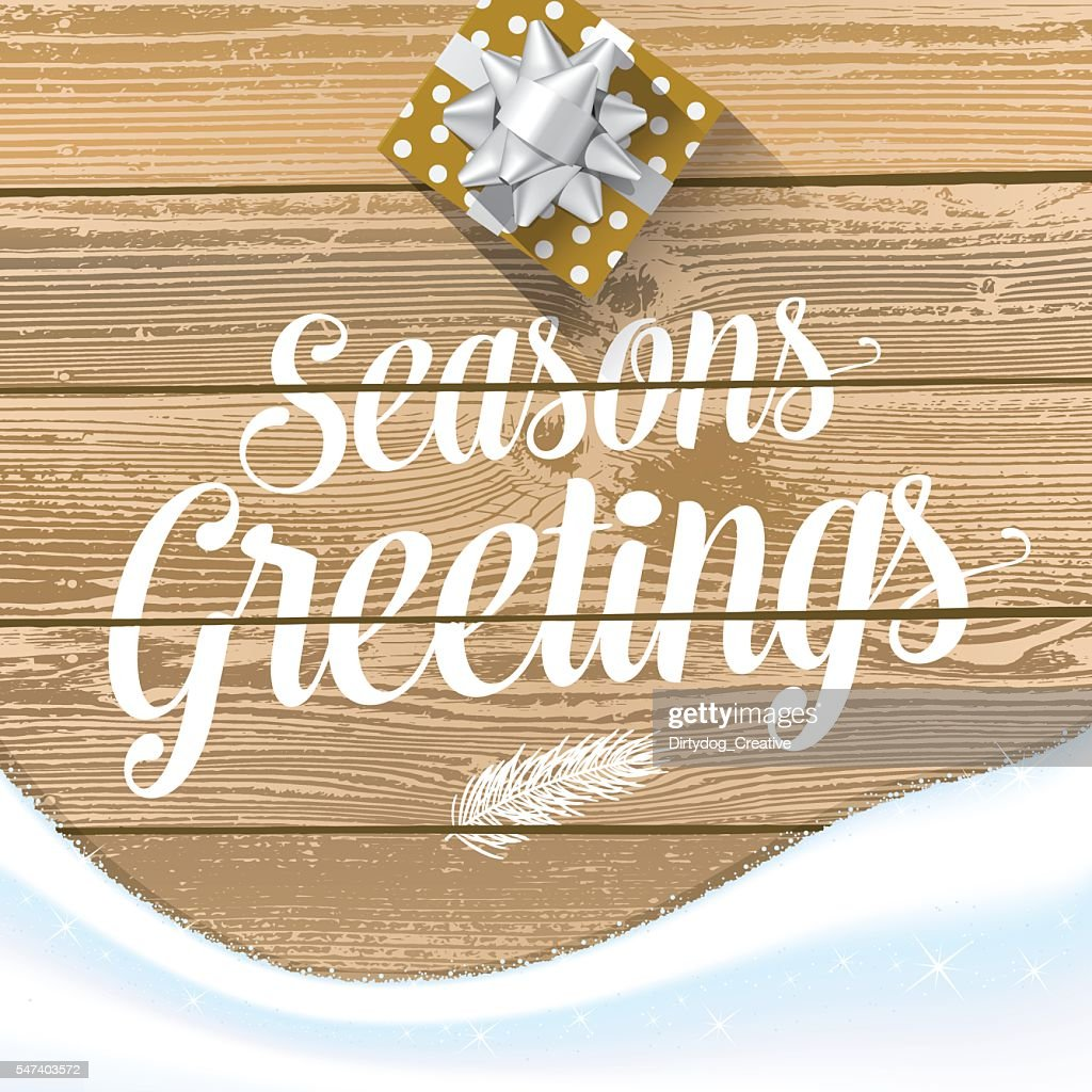 Seasons Greetings with gift box & snow