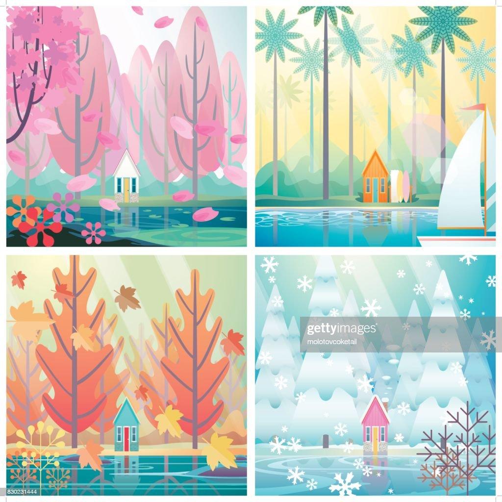 4 seasons of a hut