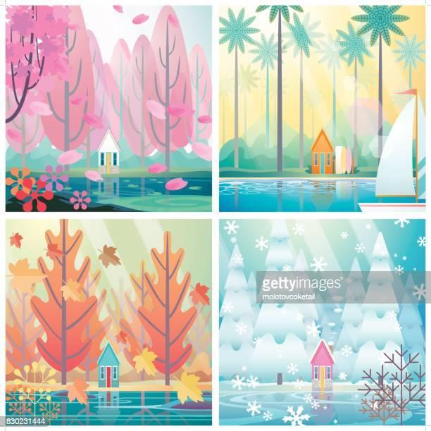 4 saisons d'une hutte