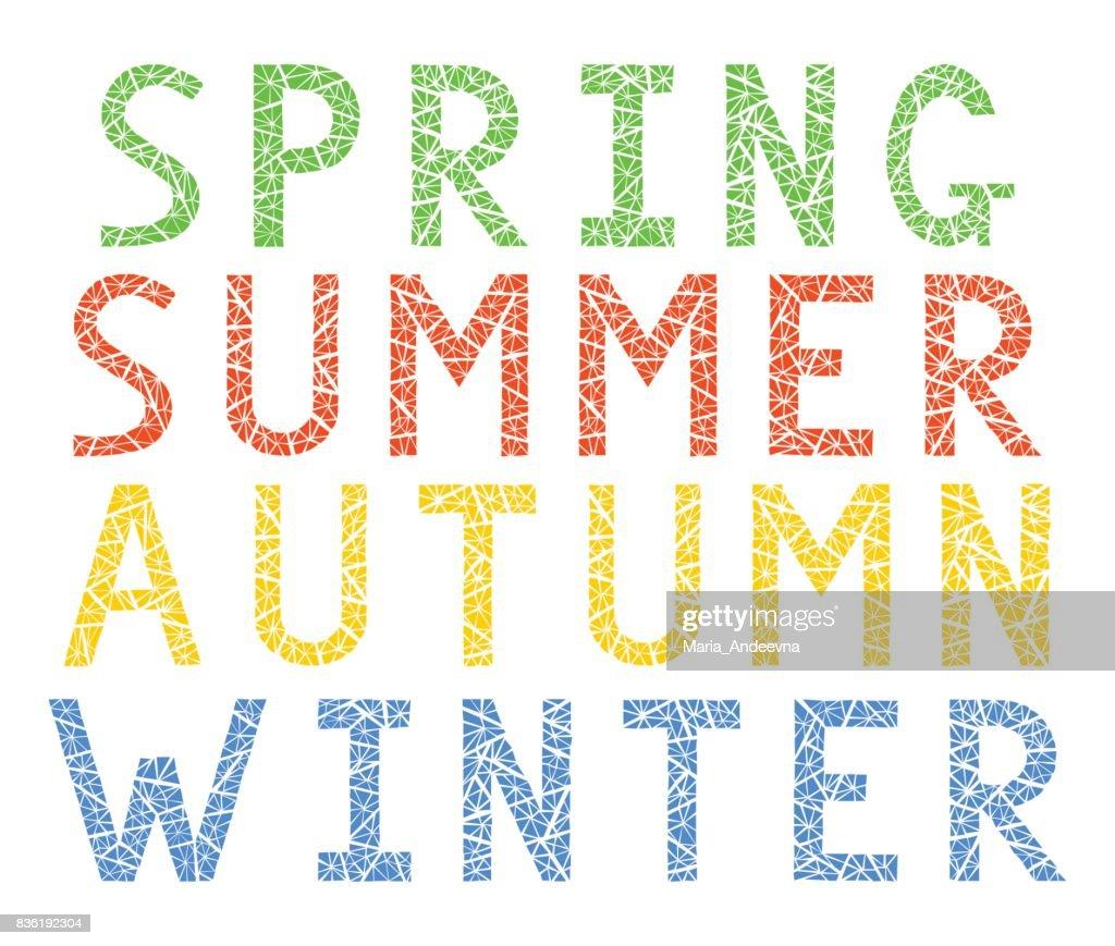 Seasons. Spring, summer, autumn, winter.