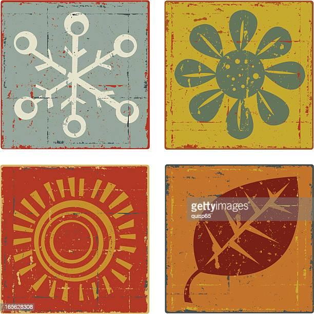 ilustraciones, imágenes clip art, dibujos animados e iconos de stock de seasons - las cuatro estaciones