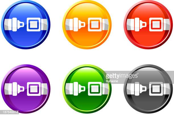 seat belt royalty free vector icon set round buttons