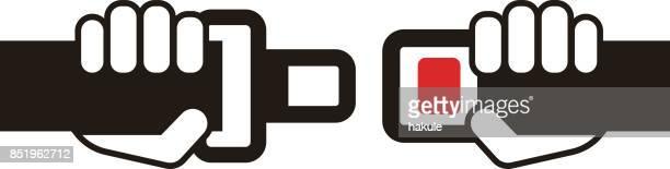 シートベルト フラット アイコン、シンプルなベクター イラスト - バックル点のイラスト素材/クリップアート素材/マンガ素材/アイコン素材