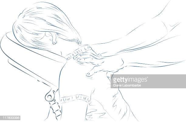 ilustrações de stock, clip art, desenhos animados e ícones de massagem encaixado - massagista