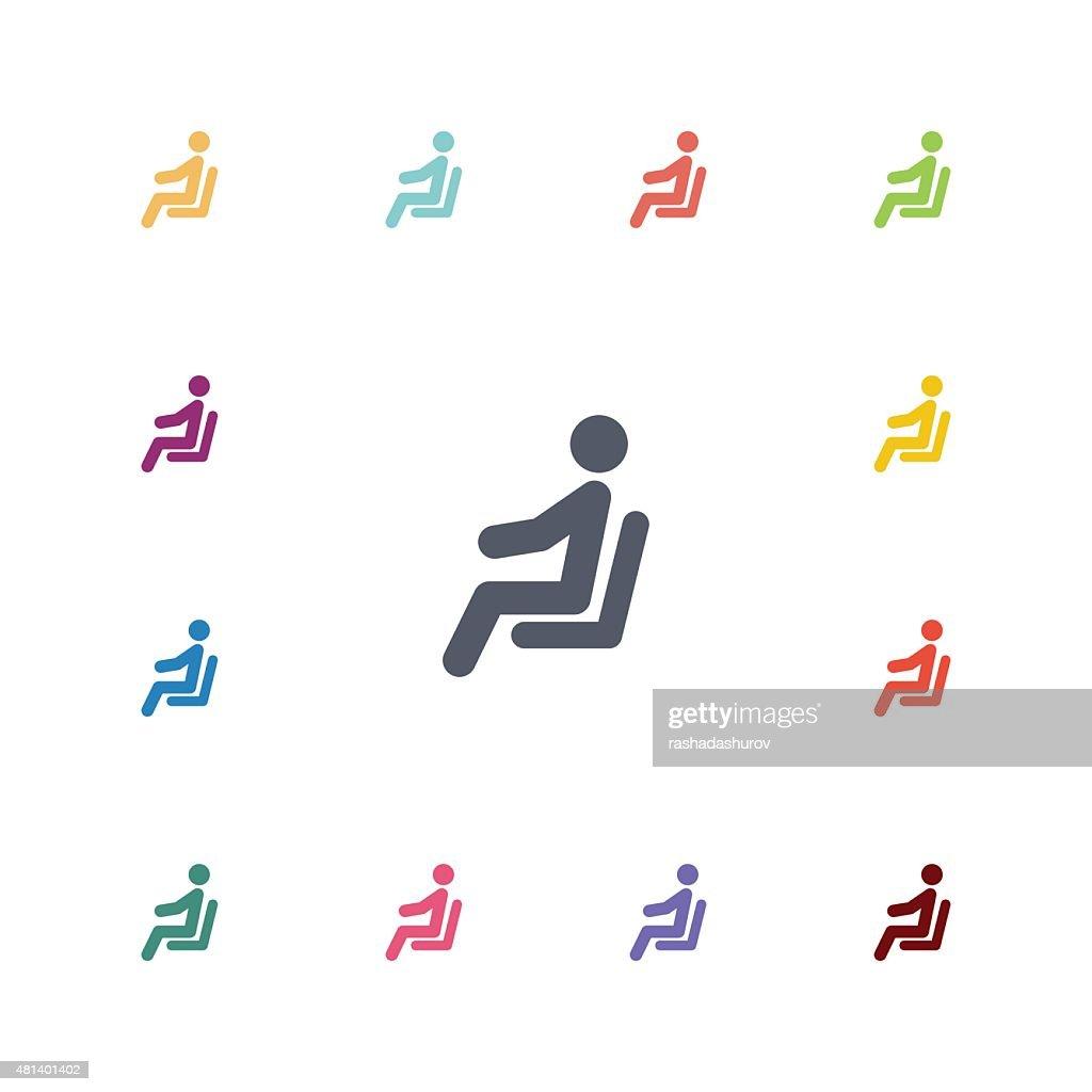 seating man flat icons set