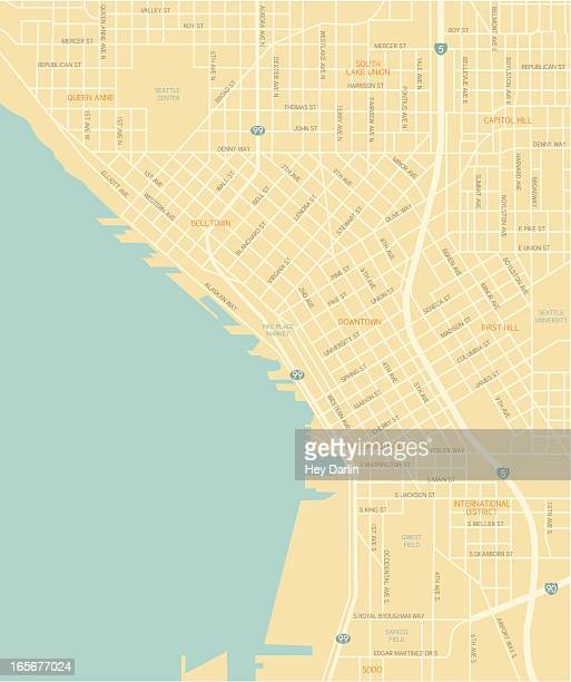 seattle downtown map - seattle stock illustrations