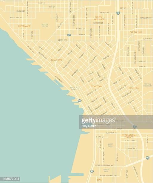 Karte der Innenstadt von Seattle