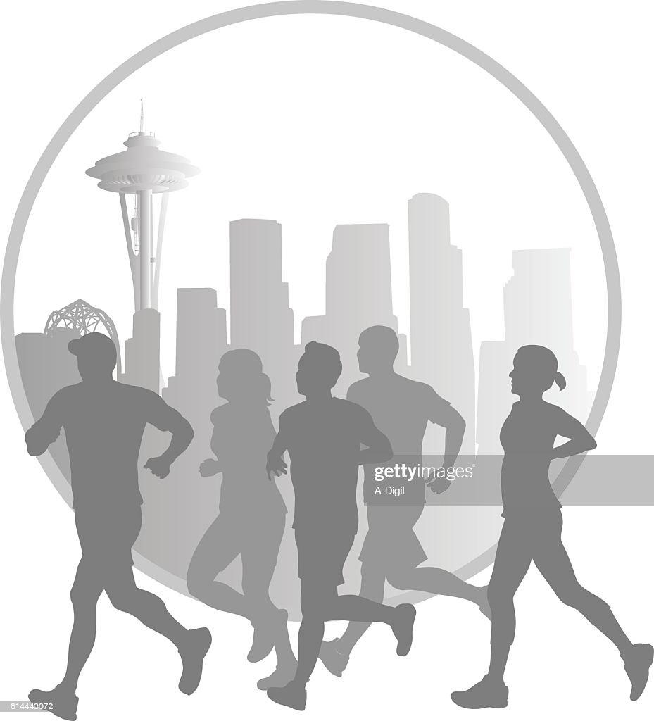 Seattle Marathon Joggers Vector Silhouette