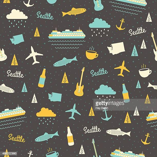 seattle seamless pattern - ferry stock illustrations