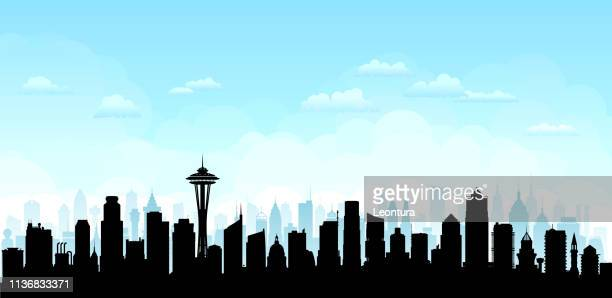seattle (all buildings are complete and moveable) - seattle stock illustrations