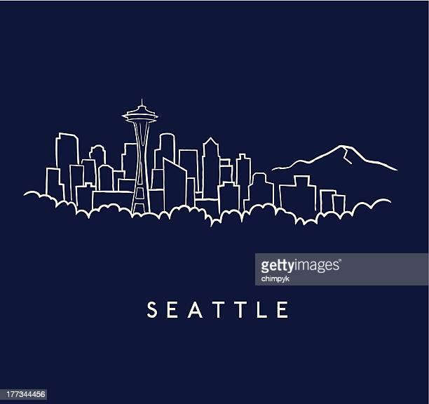 seattle skyline sketch - seattle stock illustrations