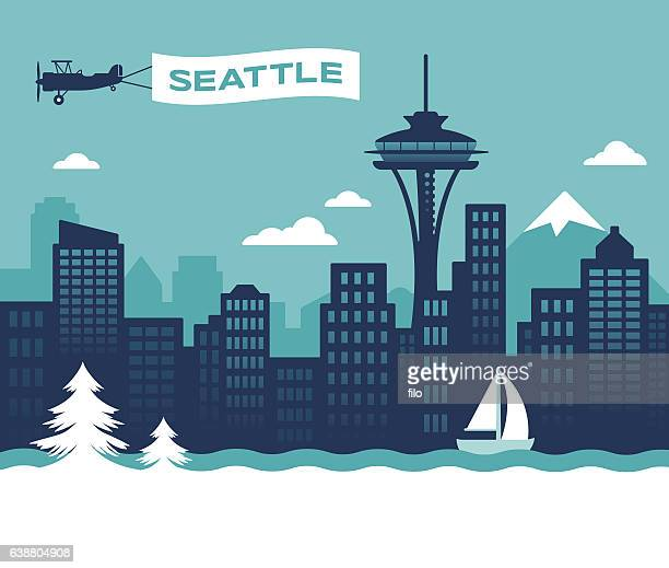 seattle skyline - downtown district stock illustrations