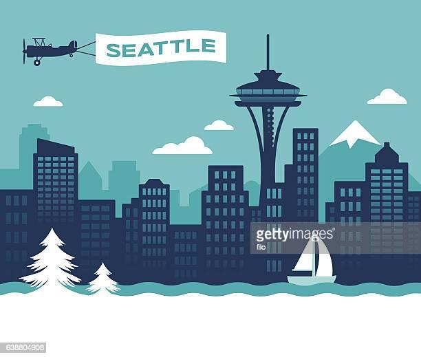 seattle skyline - seattle stock illustrations