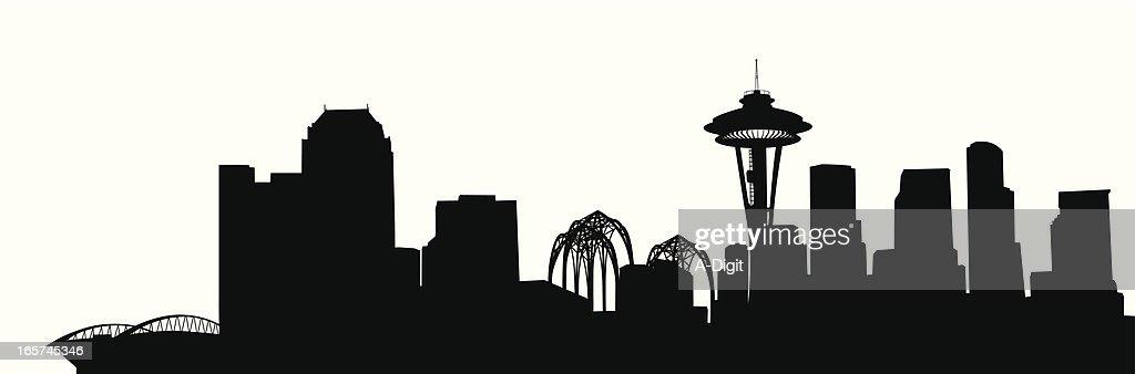 Seattle Skyline Vector Silhouette