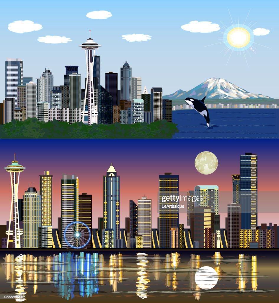 Seattle, Washington, USA - Day and Night