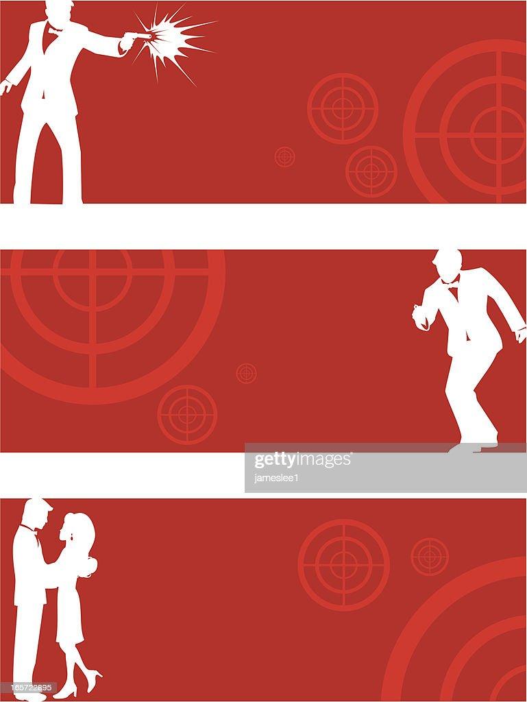 Secret Agent Banners : stock illustration