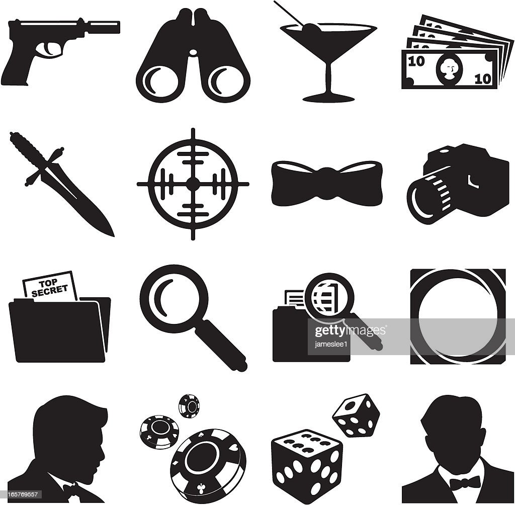 Secret Agent Icons : stock illustration