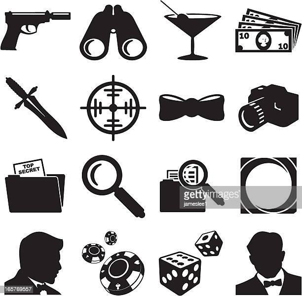 ilustraciones, imágenes clip art, dibujos animados e iconos de stock de agente secreto iconos - stealth