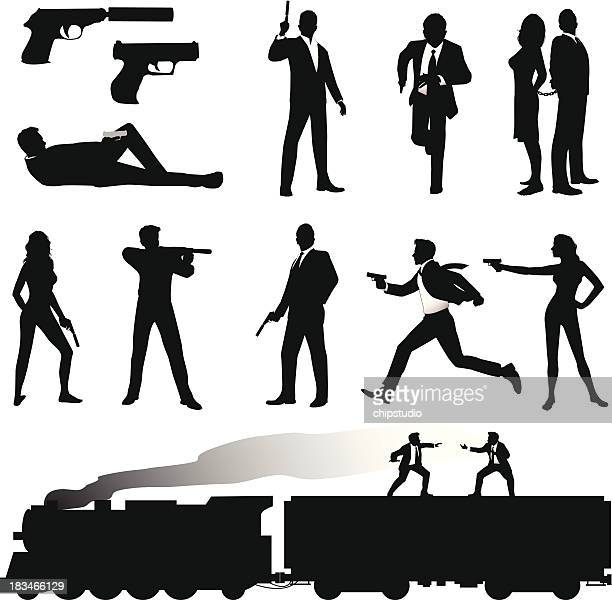 illustrations, cliparts, dessins animés et icônes de agent secret - pistolet